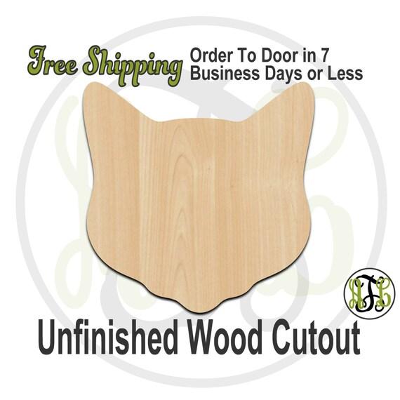 Cat Head Mascot- 60505- School Spirit Cutout, unfinished, wood cutout, wood craft, laser cut shape, wood cut out, Door Hanger, wooden