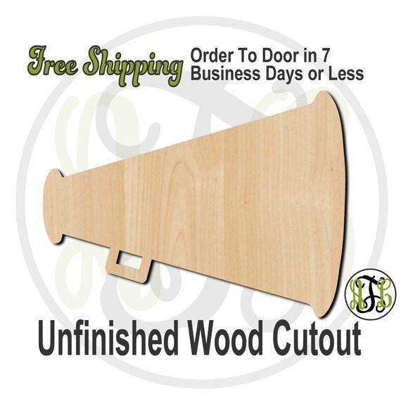 Megaphone - 60012- School Spirit Cutout, unfinished, wood cutout, wood craft, laser cut shape, wood cut out, Door Hanger, wooden, wall art