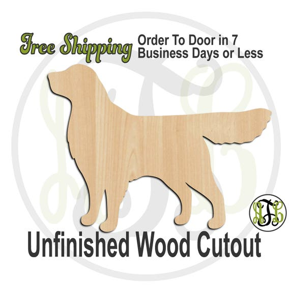 Golden Retriever - 230081- Animal Cutout, unfinished, wood cutout, wood craft, laser cut shape, wood cut out, Door Hanger, Dog, wooden