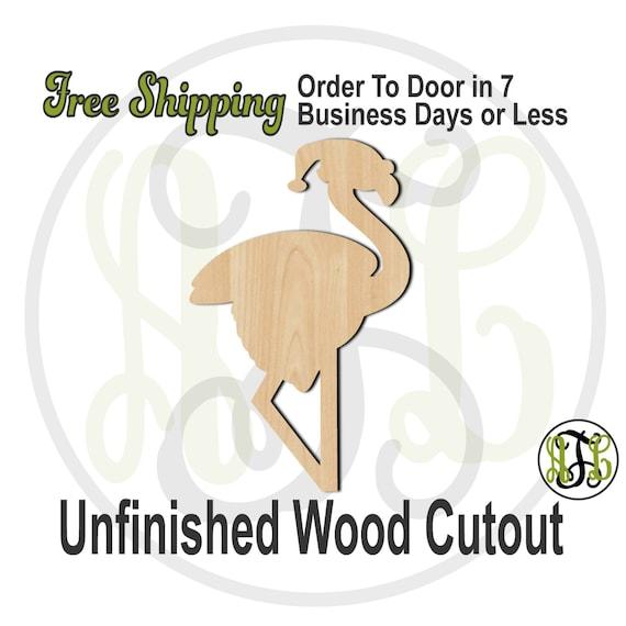 Flamingo Santa - 180007- Christmas Cutout, unfinished, wood cutout, wood craft, laser cut shape, wood cut out, Door Hanger, wooden, wall art