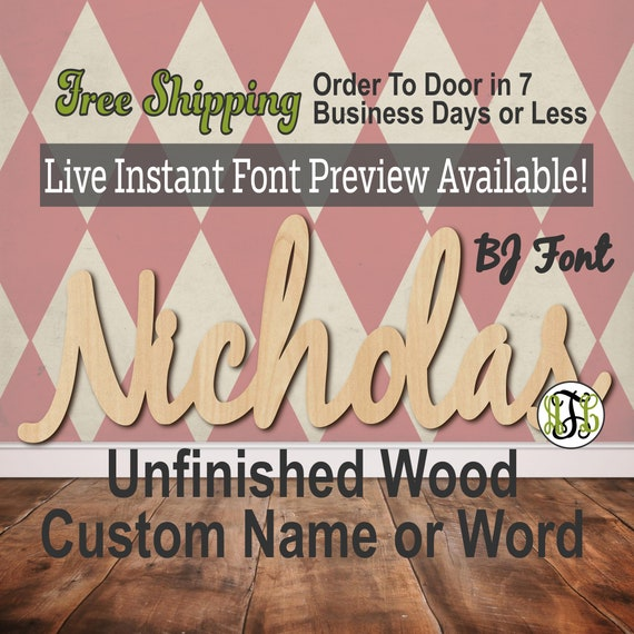 Custom Wood Name Sign, BJ Font, Cursive, Connected, wood cut out, wood cutout, woode, Nursery, Wedding, Birthday, word sign, Script