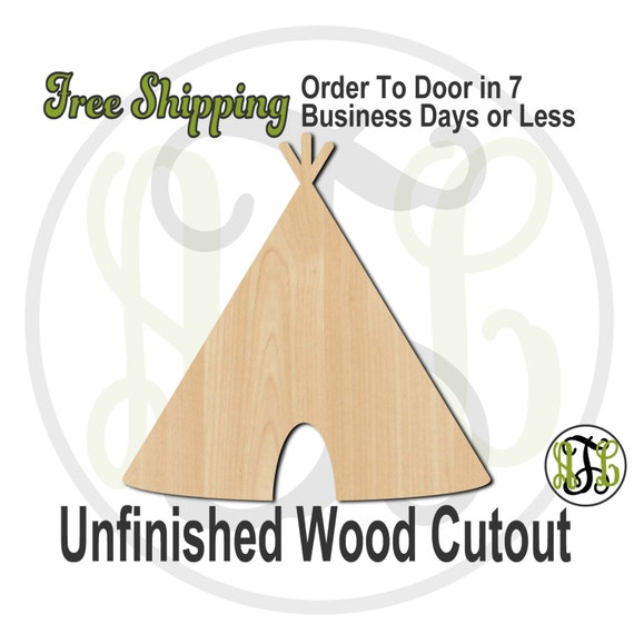 """Teepee- 3"""" to 6"""" Minis- 170020- Small Wood Cutout, unfinished, wood cutout, wood craft, laser cut shape, wood cut out, ornament"""