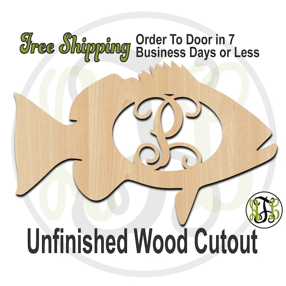 Red Snapper - 230069M1- Personalized Cutout, Initial, unfinished, wood cutout, wood craft, laser cut wood, wood cut out, wooden, Door Hanger
