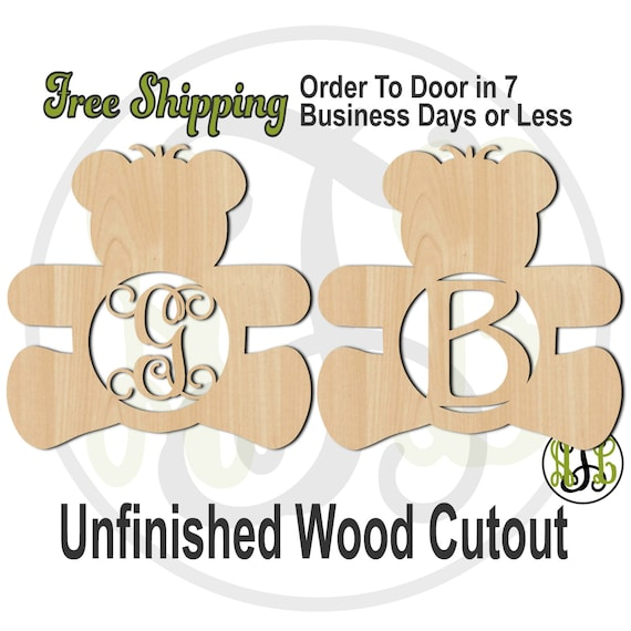 Teddy Bear Girl or Boy Monogram- 30001M1- Personalized Cutout, Initial, unfinished, wood cutout, wood craft, laser cut, wood cut out, wooden