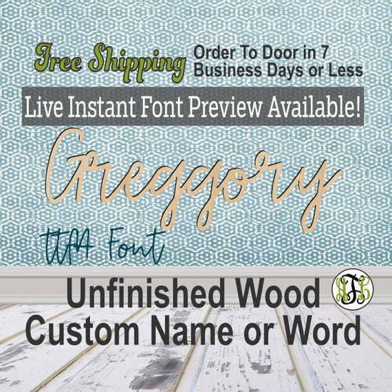 Custom Wood Name Sign, ttfA Font, Cursive, Connected, wood cut out, wood cutout, wooden, Nursery, Wedding, Birthday, word sign, Script