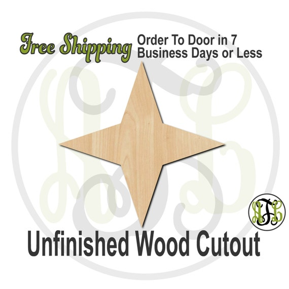 Four Pointed Star- 300142- Christmas Cutout, unfinished, wood cutout, wood craft, laser cut shape, wood cut out, Door Hanger, wooden