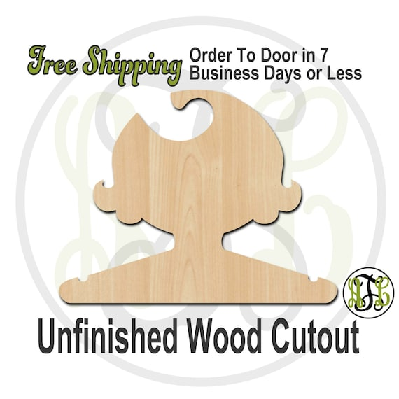 Girl Flipped Closet Hanger -Adult or Child Size Cutout, unfinished, wood cutout, wood craft, laser cut, wood cut out, DIY, Free Shipping