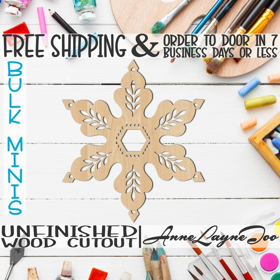 "Vintage Snowflake, 5"" to 6"" Minis, Small Wood Cutout, unfinished, wood cutout, wood craft, laser cut, wood cut -180073"