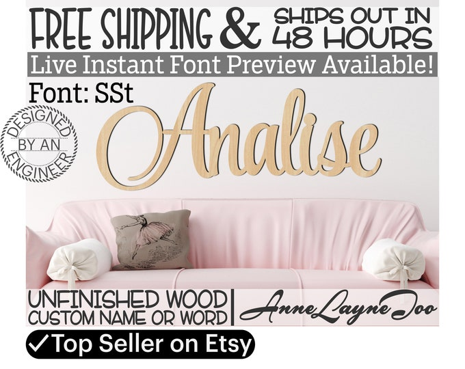 Wooden Name Sign, SSt Font,  unfinished wood cutout, Custom Wood Name Sign, Nursery Sign, Wedding, Birthday Sign, Name in Wood- 48 HOURS