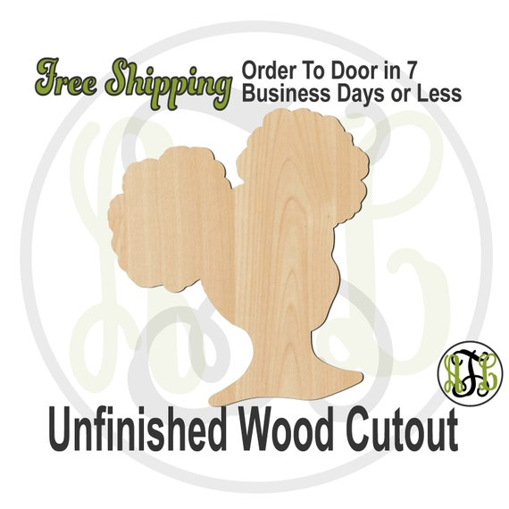 African American Girl with Afro Puffs Wood Cutout, wood cut out, Afro Puff Door Hanger, laser cut, unfinished wood cutout - 3300013