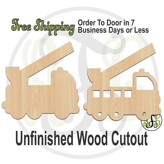 Fire Truck - 10010 or 10010BOPEN- Cutout, unfinished, wood cutout, wood craft, laser cut shape, wood cut out, Door Hanger, wooden