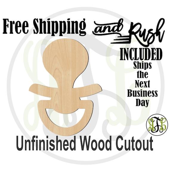 Pacifier - 30010- Baby Cutout, unfinished, wood cutout,  laser cut shape, Door Hanger, wreath accent - RUSH PRODUCTION