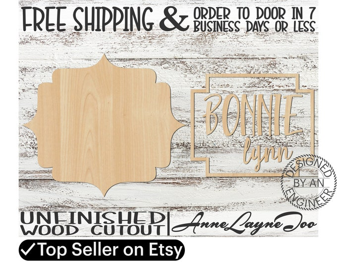 Two - Name Sign DIY Kit Pandala Sign Cutout, unfinished wood cutout, wooden, laser cut, Nursery Wall Plaque, Girl Sign, Boy Sign - 460007