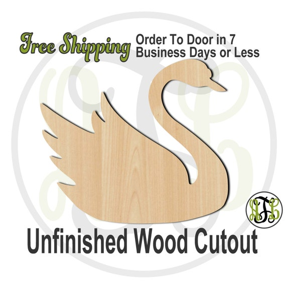 Swan- 230045- Bird Cutout, unfinished, wood cutout, wood craft, laser cut shape, wood cut out, Door Hanger, wooden, blank