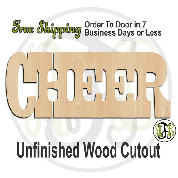CHEER 2 - 320280HB- Word Cutout, unfinished, wood cutout, wood craft, laser cut, wood cut out, wood cut out, cheerleader, wooden sign