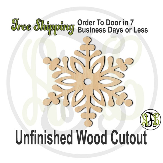 """Snowflake 1- 4"""" to 6"""" Minis- 180022- Small Wood Cutout, unfinished, wood cutout, wood craft, laser cut shape, wood cut out, ornament"""