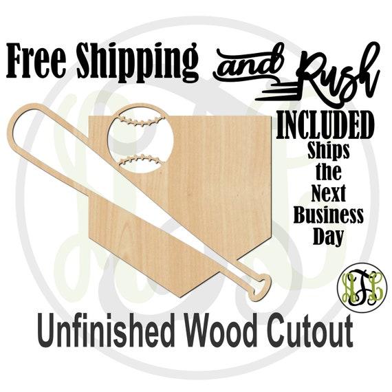 Home Plate Bat & Ball- 60333- School Spirit Cutout, unfinished, wood cutout,  laser cut, Door Hanger - RUSH PRODUCTION