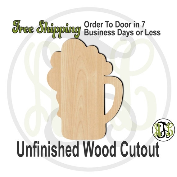 Beer Mug - 300019- Summer Cutout, unfinished, wood cutout, wood craft, laser cut shape, wood cut out, Door Hanger, wooden, ready to paint