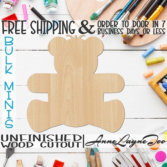 "Teddy Bear - 2"" to 6"" Minis, Small Wood Cutout, unfinished, wood cutout, wood craft, laser cut shape, wood cut out, ornament -30001"