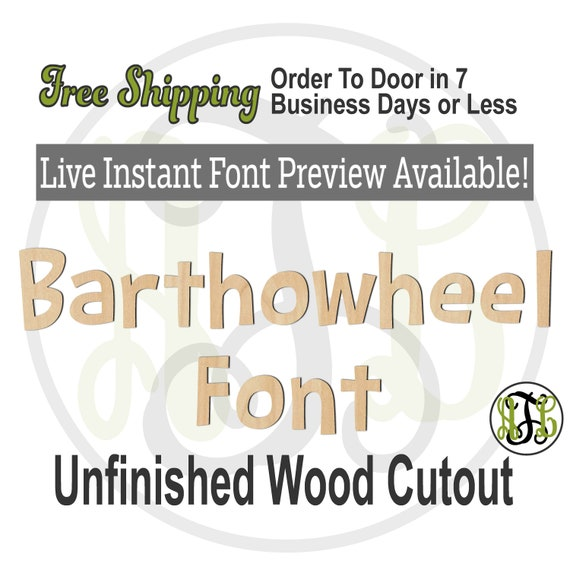 Barthowheel Font Name / Word / Phrase- Block Alphabet Cutout, unfinished, wood cutout, laser cut wood, wood cut out, Live Font Preview