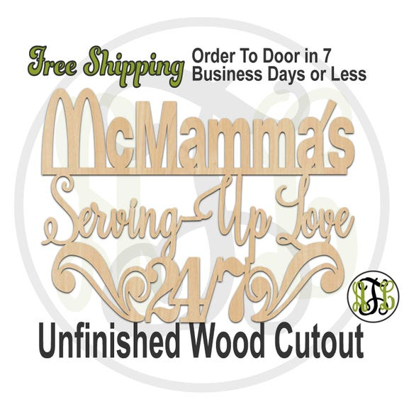 McMamma's - 325048- Kitchen Cutout, unfinished, wood cutout, wood craft, laser cut wood, wood cut out Sign, Kitchen Sign, wooden sign