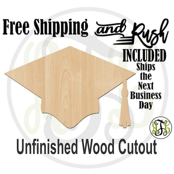 Graduation Hat - 24202- Celebration Cutout, unfinished, wood cutout,  laser cut shape, Door Hanger, Congrats - RUSH PRODUCTION