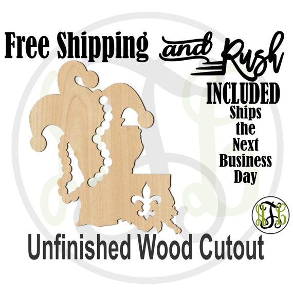 Louisiana Mardi Gras- 130016- Mardi Gras Cutout, unfinished, wood cutout, wood art, laser cut, wood cut out, Door Hanger,  RUSH PRODUCTION