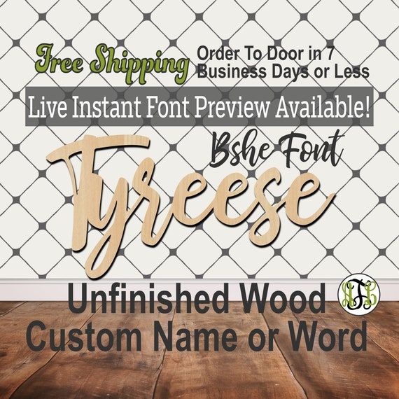 Custom Wood Name Sign, Bshe Font, Cursive, Connected, wood cut out, wood cutout, wooden, Nursery, Wedding, Birthday, word sign, Script