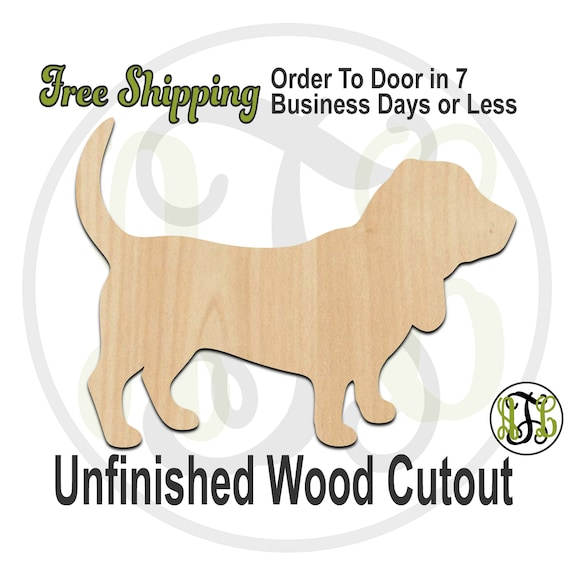 Basset Hound - 230074- Animal Cutout, unfinished, wood cutout, wood craft, laser cut shape, wood cut out, Door Hanger, Dog, wooden, blank