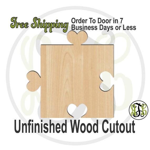 Interlocking Heart Puzzle Piece- 300157- Cutout, unfinished, wood cutout, wood craft, laser cut shape, wood cut out, Guest Book, Wedding