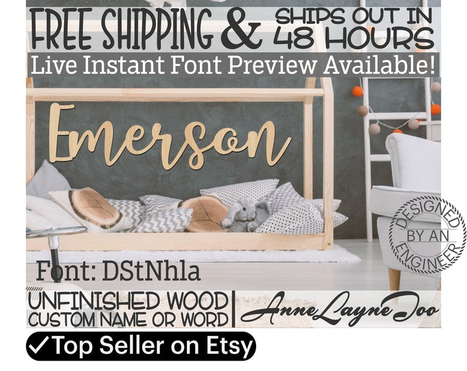 Wooden Name Sign, DStNhla Font,  unfinished wood cutout, Custom Wood Name Sign, Nursery Sign, Wedding, Birthday Sign, Name in Wood- 48 HOURS