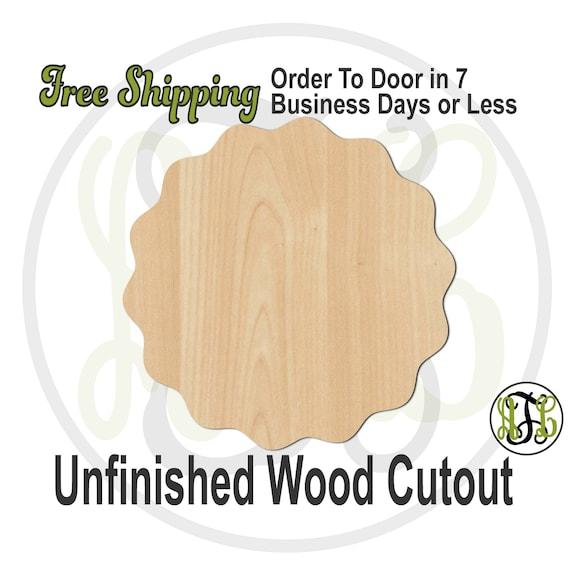Wavy Circle Plaque - 40057- Cutout, unfinished, wood cutout, wood craft, laser cut shape, wood cut out, DIY, Free Shipping