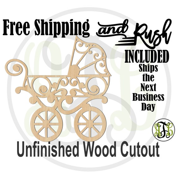 Scroll Carriage Wood Cutout, Baby Shower Cutout, Gender Reveal, Nursery Sign, unfinished, wood cut out, laser cut -20015- RUSH PRODUCTION