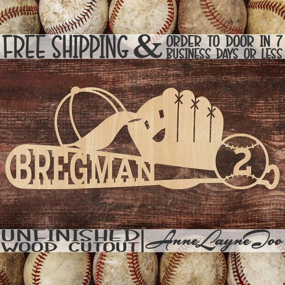 Hat Ball Glove and Bat Name and Number Wood Sign, Baseball Cutout, Baseball Wall Art, unfinished, wood cut out, laser cut -60340NANO