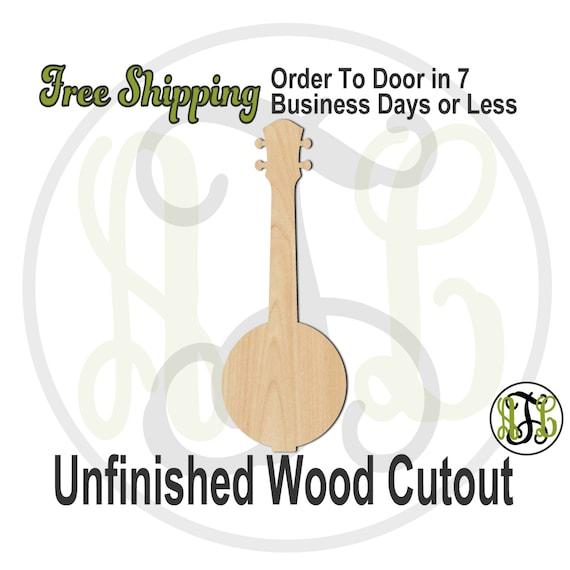Banjo - 300117- Instrument Cutout, unfinished, wood cutout, wood craft, laser cut shape, wood cut out, Door Hanger, wooden, wall art
