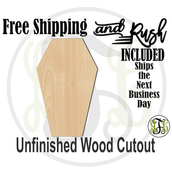 Coffin - 160019- Halloween Cutout, unfinished, wood cutout,  laser cut shape, Door Hanger, wall art - RUSH PRODUCTION
