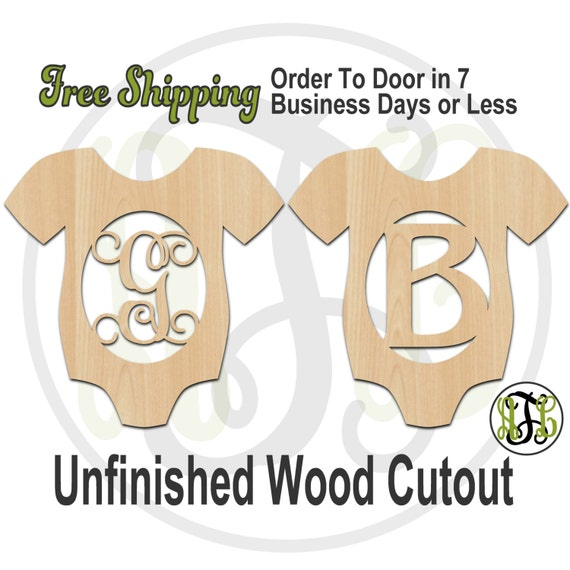 Infant Body Suit Girl or Boy Monogram- 30003M1- Personalized Cutout, Initial, unfinished, wood cutout, wood craft, laser cut, wood cut out