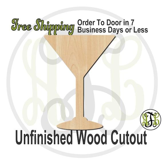 "Martini Glass- 4"" to 6"" Minis- 300136- Small Wood Cutout, unfinished, wood cutout, wood craft, laser cut, wood cut out, ornament"