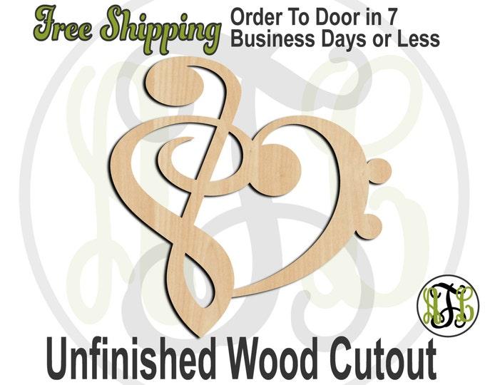 Treble Bass Heart- 300147- Music Cutout, unfinished, wood cutout, wood craft, laser cut shape, wood cut out, Door Hanger, wooden, wall art