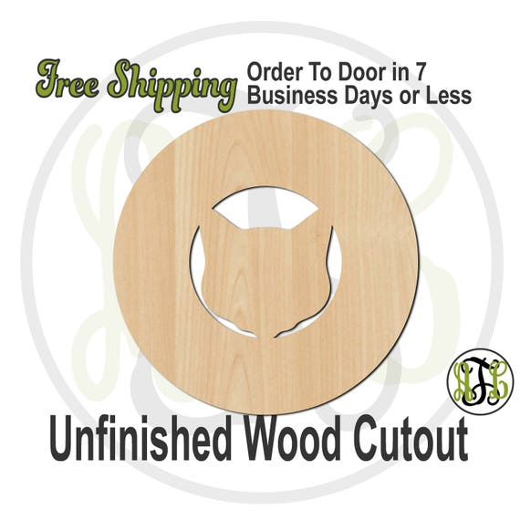 Cat Head Thick Circle Frame- 69013- School Spirit Cutout, unfinished, wood cutout, wood craft, laser cut shape out, wood cut out, wooden