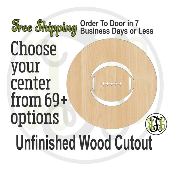 Sports Thick Circle Frame Plaque-69002-71- School Spirit Cutout, unfinished, wood cutout, laser cut wood cut out, Football, Baseball, Cheer