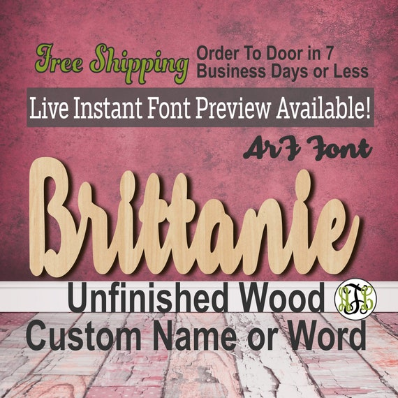 Custom Wood Name Sign, ArF Font, Cursive, Connected, wood cut out, wood cutout, wooden sign, Nursery, Wedding, Birthday, word sign