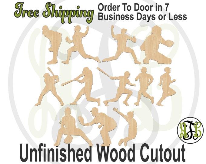 Baseball Players- 69422-433- Sports Cutout, unfinished, wood cutout, wood craft, laser cut shape, wood cut out, Door Hanger, wooden