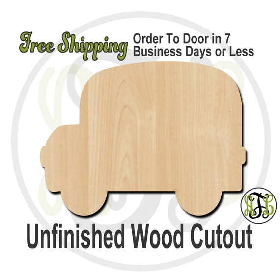 Bus Side Wood Cutout, wood cut out, Door Hanger, wooden, laser cut, unfinished wood cutout - 70004