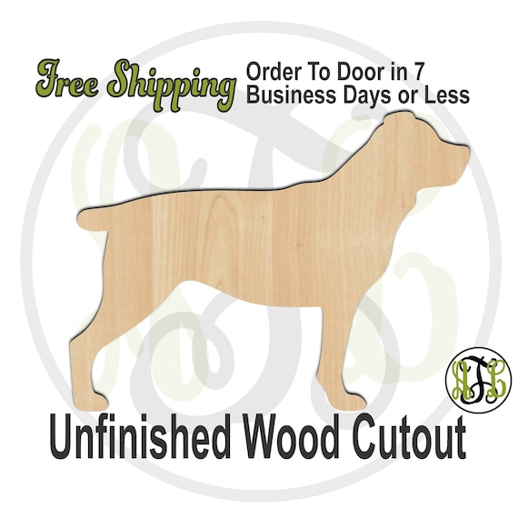 Rottweiler - 230088- Animal Cutout, unfinished, wood cutout, wood craft, laser cut shape, wood cut out, Door Hanger, Dog, wooden, blank