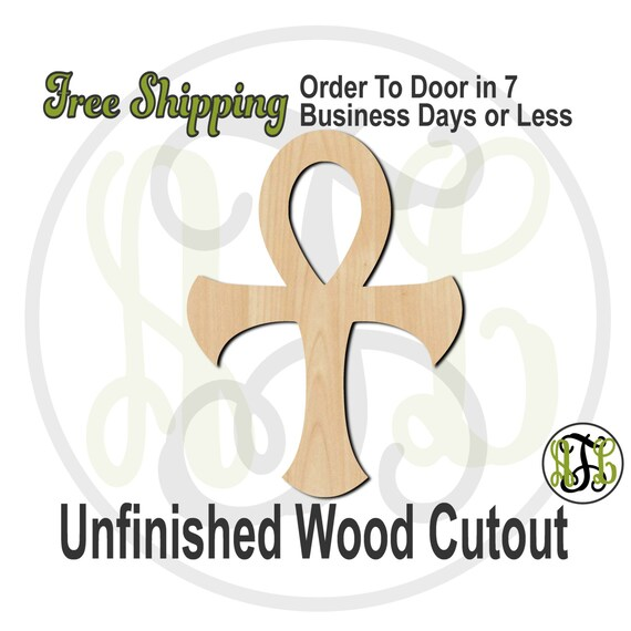 Cross of Life - No. 290016- Religious Cutout, unfinished, wood cutout, wood craft, laser cut shape, wood cut out, Door Hanger, wooden