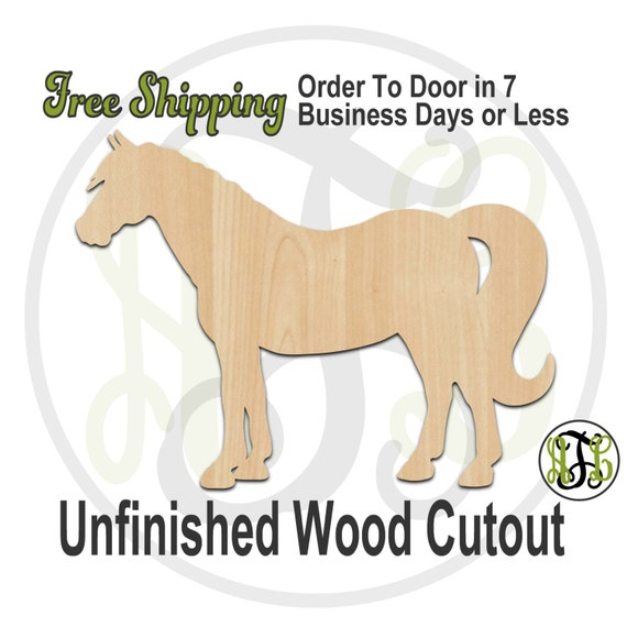 Horse - 230046- Farm Cutout, unfinished, wood cutout, wood craft, laser cut shape, wood cut out, Door Hanger, wooden, blank