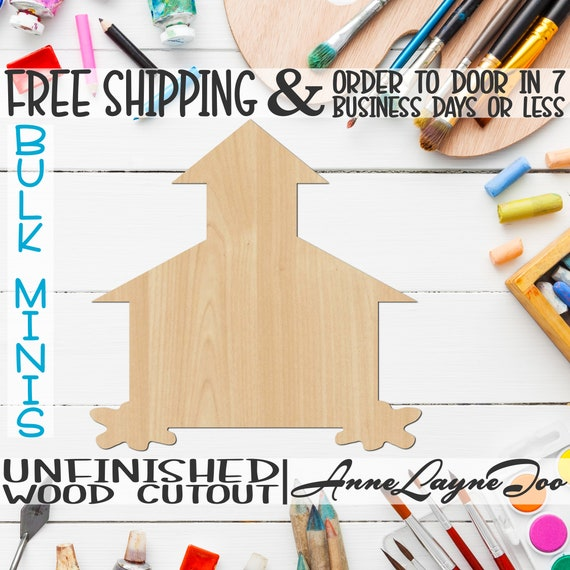 """School House 2- 3"""" to 6"""" Minis, Small Wood Cutout, unfinished, wood cutout, wood craft, laser cut shape, wood cut out, ornament -28002"""