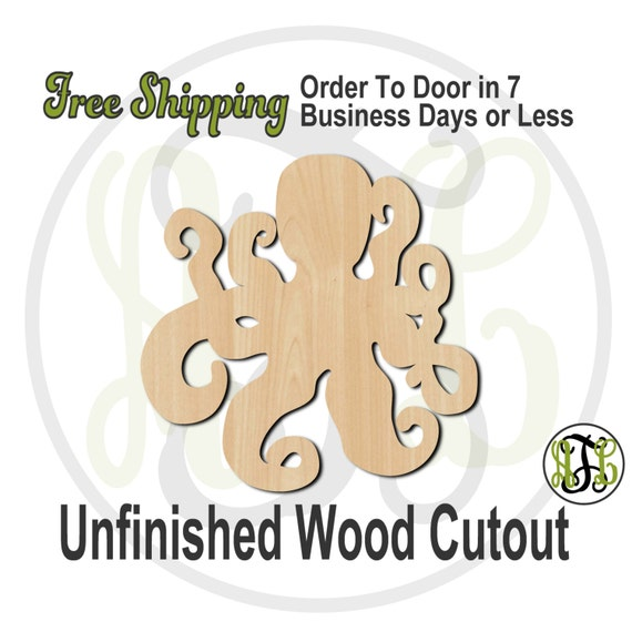 Octopus - 50006- Nautical Cutout, unfinished, wood cutout, wood craft, laser cut shape, wood cut out, Door Hanger, wooden, blank