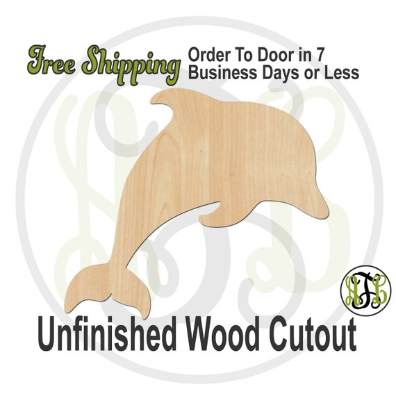 Dolphin- 230064- Nautical Cutout, unfinished, wood cutout, wood craft, laser cut shape, wood cut out, Door Hanger, Animal, wooden, blank
